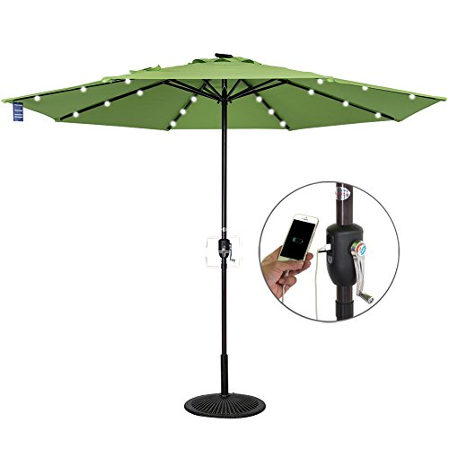 Sundale Outdoor 10 ft Solar Powered 24 LED Lighted Patio Umbrella Table Market Umbrella with Crank for Garden, Deck, Backyard, Pool, 8 Steel Ribs, Recharge for Phone (Green) For Sale