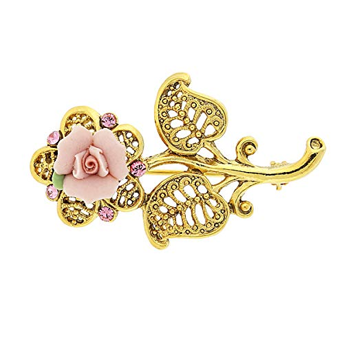 1928 Jewelry Gold-Tone Pink Crystal and Porcelain Rose Filigree Brooch