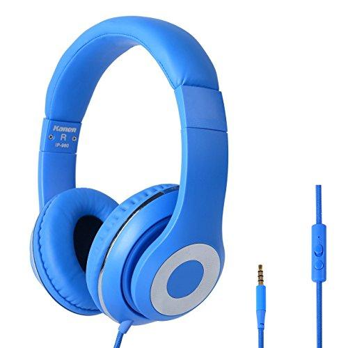 RockPapa Stereo On Ear DJ Kopfhörer Headphone Headset mit Mikrofon, Kraftvoller Stereo Sound, Noise Cancellation, Leichtes Gewicht für VR iPod iPad PSP PCs Smartphones und TVs Blau