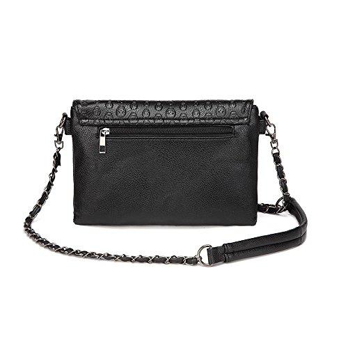 LOYOMA Womens Skull Print Rivet PU Leather Shoulder Bags Tote Purse Handbag 263c79ab94ae8
