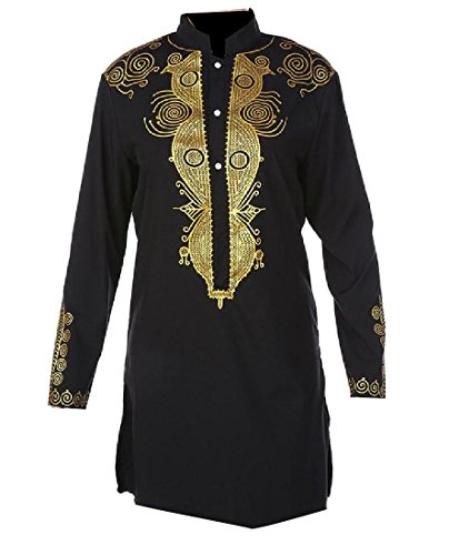 CrazyDay Men's Stand Collar Solid Mid Modern African Dashiki Tunic Pullover Black M (Mens Black Tunic)