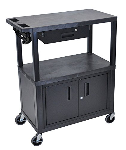 LUXOR EA42CDE-B Presentation Station, 3 Flat Shelves with Cabinet and Drawer and Electric, Black by Luxor