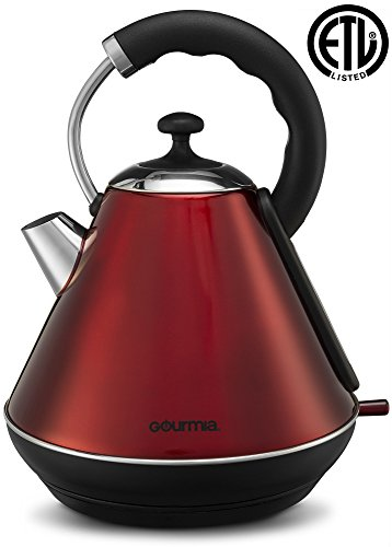 Gourmia GK270 Electric Retro Kettle - Fast Water Boiling - Rear Water Gauge - Cordless Carry - 360° Swivel Base - Auto Shut Off - Boil Dry Protection - 1.8L / 2 Qt - 1500W - Red/Stainless Steel