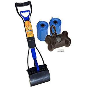 New Complete Poo Pack | Pooper Scooper, Poop Bags, and Pet Dog Waste Bag Holder (Blue)