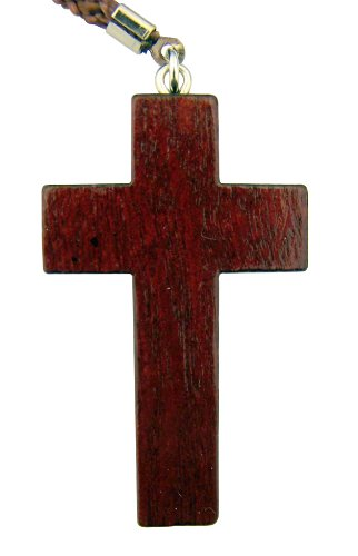 Religious Gift 2 Inch Brown Solid Natural Wood Christian Latin Cross on 30 Inch Rope Chain
