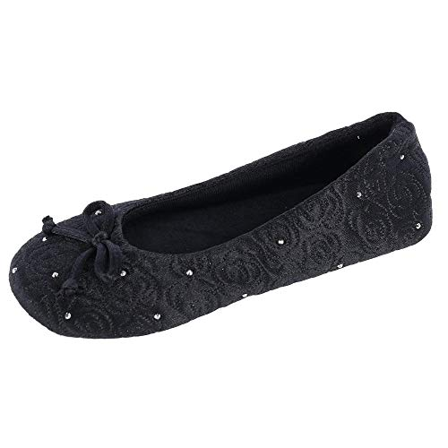 - ISOTONER Women's Rose Quilted Satin Ballerina Slippers with Rhinestones Black Small 5-6