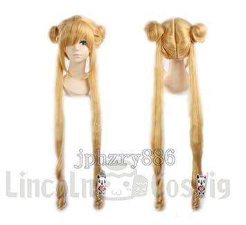 Sailor Moon peluca sistema de oro superficial mes liebres calor cosplay peluca cosplay pelucas cosplay de
