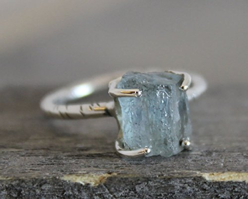 Raw Aquamarine Sterling Silver Ring, size 6