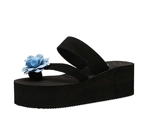 Ajunr Moda/elegante/Transpirable/Sandalias Flip Flops Las zapatillas de playa Flores Espesor inferior Zapatillas 6cm de talón Negro ,36 37