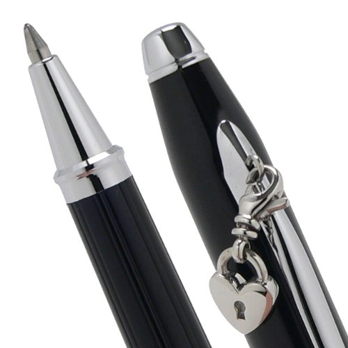 Cross Sentimental Pearlescent Black Lacquer and Glittering Pavé-textured Band Selectip Rolling Ball Pen