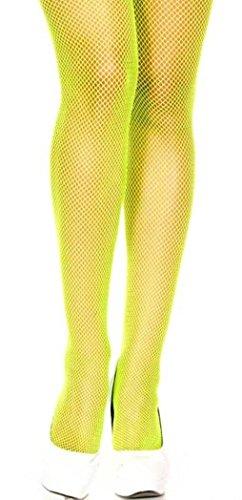 Neon Yellow, Queen Size - Nylon Seamless Fishnet Pantyhose