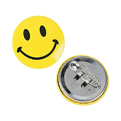 Fun Express - Mini Metal Smiley Smile Face Button Pins (2-Pack of 48)
