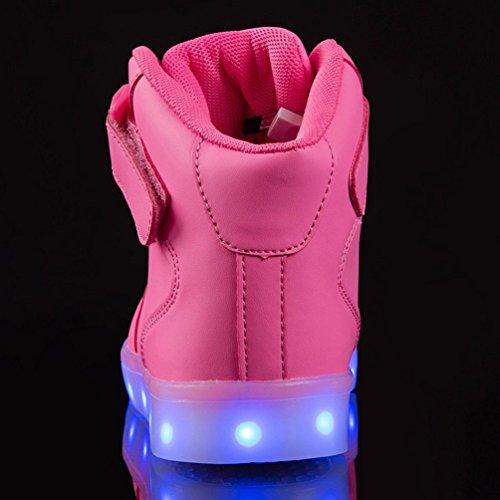 Unisex Rosa Alta scarpe moda Luminosi ricarica per Sneakers scarpe Bambino lampeggiante USB Sportivet Top Scarpe bambini Adulto Led faBqxx