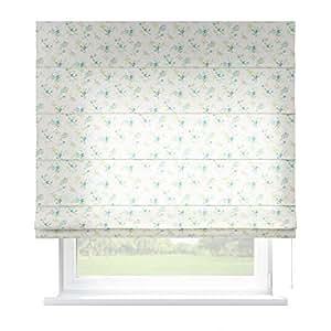 dekoria 160 x 170 cm 63 x 67 inch capri estor con accesorios azul flores sobre fondo blanco. Black Bedroom Furniture Sets. Home Design Ideas