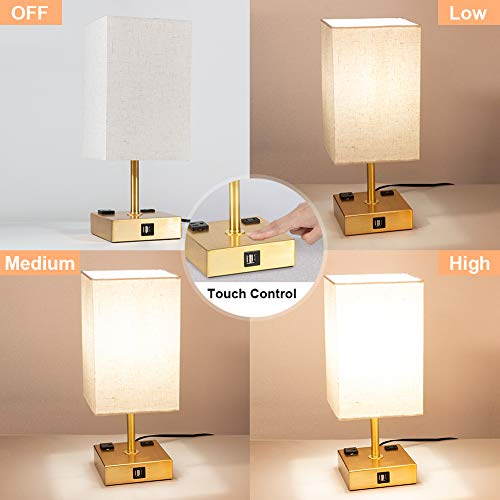 DEEPLITE Table Lamp Touch Control 3 Way Dimmable, Bedside ...