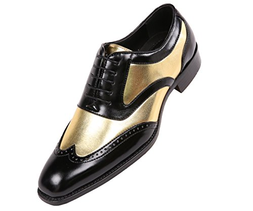 Bolano Lawson, Mens Shoes - Dress Shoes for Men - Oxford Shoes for Men - Tuxedo Shoes - Formal Shoes for Men - Shiny Metallic Shoes - Two-Tone, Mens Wingtip Dress Shoes, Color Gold, Size 12 from Bolano