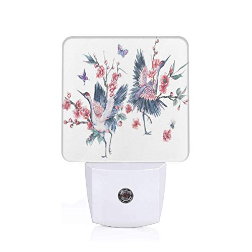 (Colorful Plug in Night,Flying Sarus Crane Birds Over Cherry Blossom Sakura Tree Watercolor Illustration,Auto Sensor LED Dusk to Dawn Night Light Plug in Indoor for Childs)