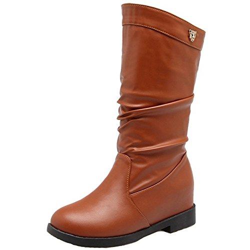 Boots Mid Hidden Heel Slouch Comfort Women Brown KemeKiss pqw7BYx