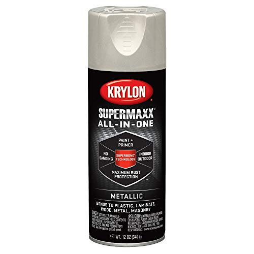 - Krylon K08993000 SUPERMAXX All-In-One Spray Paint, Satin Nickel Metallic, 12 Ounce