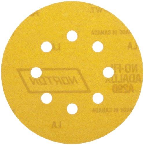 "Norton A290 No-Fil Adalox NorGrip Abrasive Disc, Light Weight Paper Backing, Hook-and-Loop, Aluminum Oxide, 5"" Diameter…"