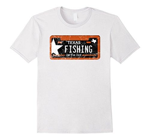 Mens Fishing Shirt Texas License Plate 2XL White