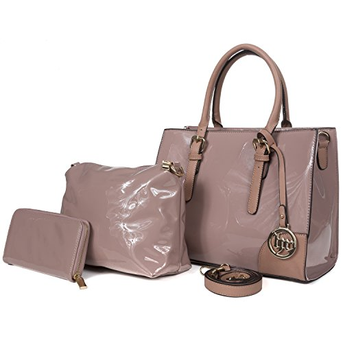 Handbag Republic Top Handle Vegan Patent Leather Bag Tote Style Purse For Women With Pouch and Wallet - Leather And Patent Leather Tote Bag