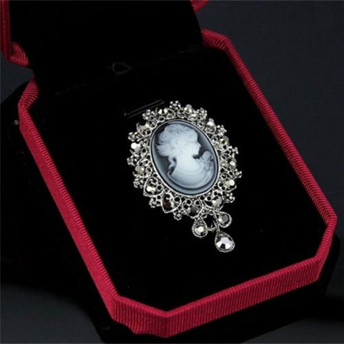 (FlyerShop(TM) Vintage Cameo Victorian Style crystal Wedding Party Women Pendant Brooch Pinwf)