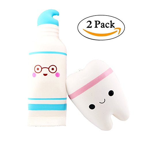 2PC Squishy Super Cute Jumbo Toys, Smile Tooth + Cartoon Toothpaste, Squeeze Toys Bag Cell Phone Strap Charms for Baby's Gift by - Balls Toothpaste