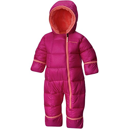 Columbia Baby Girls' Frosty Freeze Bunting, Deep Blush Snowflake Emboss, 6-12 Months (Infant Girl Snowsuit)