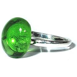Joyería para mujer - Anillo de plata y vidrio brillante Heineken
