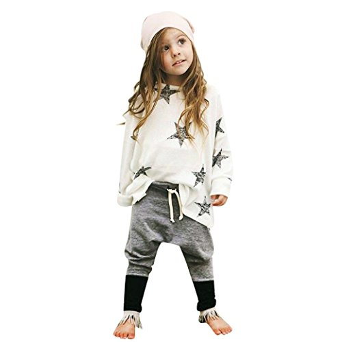GBSELL Little Girls Toddler Kids Clothes Star Long Sleeve T-shirt + Long Pants Set (White, 5T)