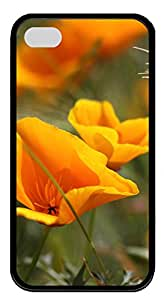 iPhone 4 4s Case, iPhone 4 4s Cases - Summer Flowers TPU Polycarbonate Hard Case Back Cover for iPhone 4 4s¨CBlack