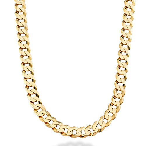 Miabella Solid 18K Gold Over 925 Sterling Silver Italian 9mm Solid Diamond-Cut Cuban Link Curb Chain Necklace For Men, 18, 20, 22, 24, 26, 30 inch (24) (Curb Link Solid Gold Chain 14k)