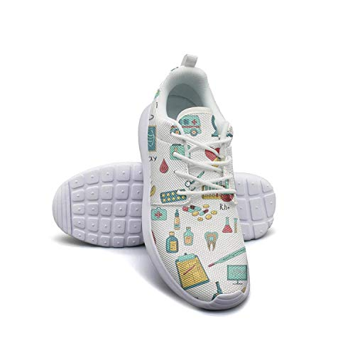 Women's Athleisure Sneakers Colored Medicine Nurse Pattern Ultra Lightweight Breathable Mesh Christmas Fashion Shoes