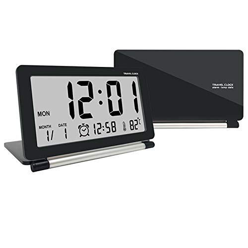 econoLED Digital Alarm Clock,Travel Clock, Multifunction Silent LCD Digital Large Screen Travel Desk Electronic Alarm Clock, Date/Time/Calendar/Temperature Display, Snooze, Folding Black & Silver US
