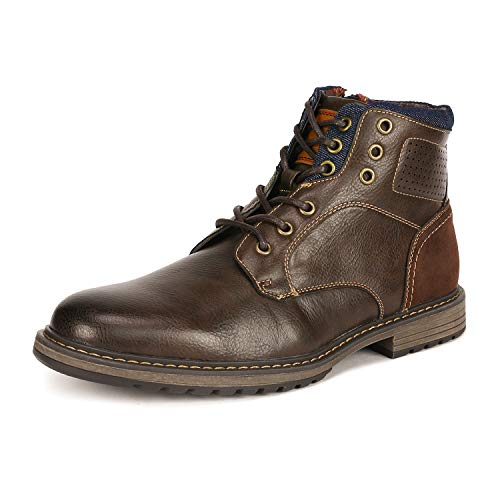 Bruno Marc Men's Philly_15 Brown Dress Combat Motorcycle Oxfords Boots Size 9.5 M US