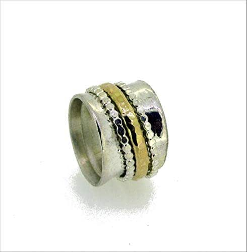 Details about  /925 Solid Silver Wide Band Meditation spinner Statement Challa Ring Worry Ring