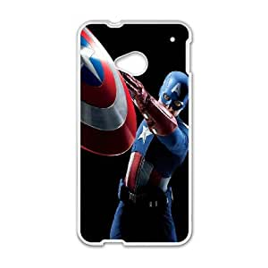 HTC One M7 Cell Phone Case-White Captain-America Back Design Phone Case Cover XPDSUNTR07849