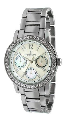 (Peugeot Women's 2937SL Silver-Tone Round Multi-Function Swarovski Crystal Accent Bracelet Watch)