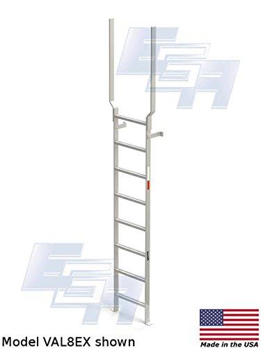 Aluminum Vertical Ladder with Rail Extensions (8 rung, 13...