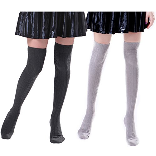 P228 Spring (HDE 2 Pack Womens Solid Color Cable Knit Over the Knee Thigh High Stocking Socks)