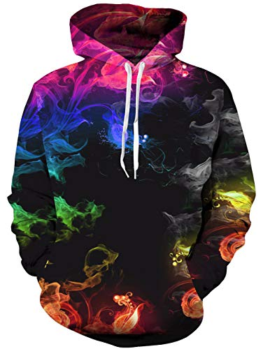 TUONROAD 3D Printed Trendy Hoodies Funny Trippy Pullover Jumpers Colorful Smoke Black Blue Turquoise Neon Jansport Breathable Comfortable Custom Sweatshirts with Big Pockets for Men and Women