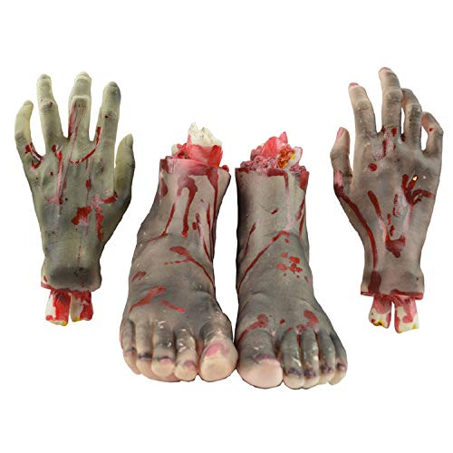 Halloween Food Like Body Parts (Anikea Halloween Fake Severed Hands Feet, Bloody Broken Human Body Parts for Halloween Props Party Decorations Haunted House Cosplay Costumes ( 2 Pieces Hands & 2 Pieces)
