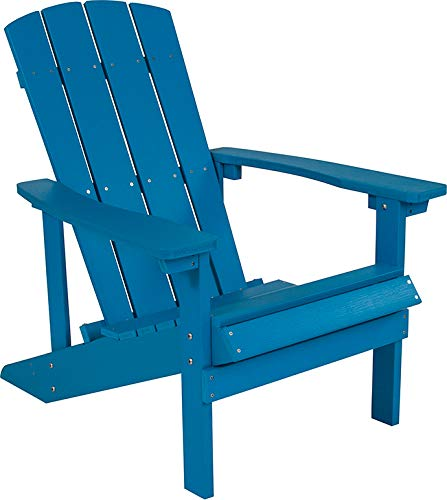 (EMMA + OLIVER All-Weather Adirondack Chair - 8 Colors in Faux Wood - Weather Resistant Material (Blue))