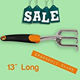Hand-Held Cultivator Tiller Small Garden Heavy Duty Tool with Ergonomic Handle 13'' Gardening Tool & Free Ebook by Stock4All