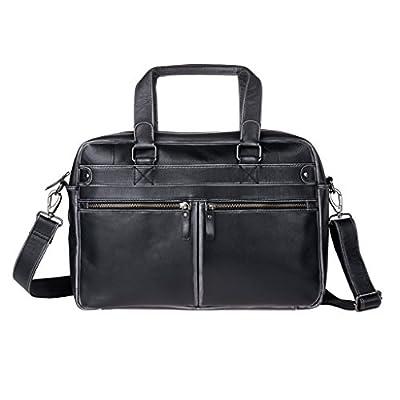74944df8ac31 durable service DuDu Mens Leather Messenger Briefcase Shoulder Laptop  Satchel Bag For Office With Strap Black