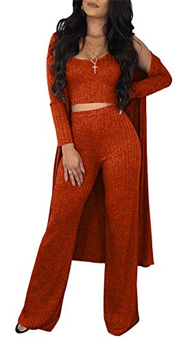 (VLUNT Women Sexy 3 Piece Outfits Solid Tank Crop Top Long Kimono Cardigan Cover up and Bodycon Pants Set Orange)