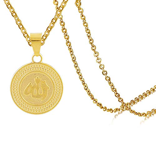 Fusamk Hip Hop Religion 18K Alloy Symbol Round Tag Pendant Necklace with Chain