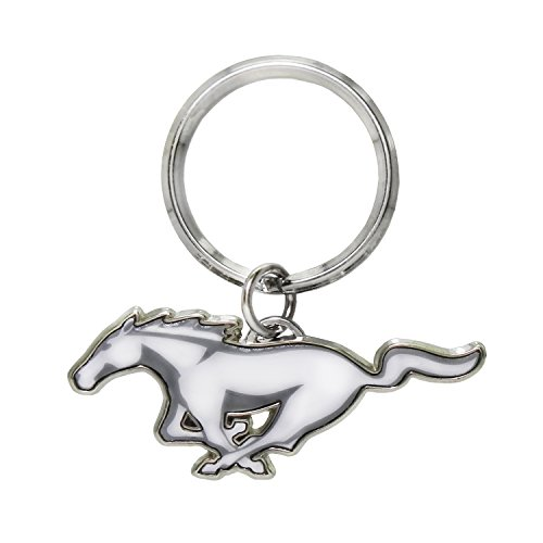 (Ford Mustang White Pony Logo Metal Key Chain, Key Charm, Keychain by iPick Image for 2000 to 2018 Mustang)