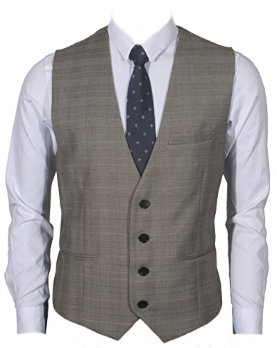 Ruth&Boaz Men's 3Pockets 4Button Business Suit Vest (XS, Glen Plaid Check Beige)